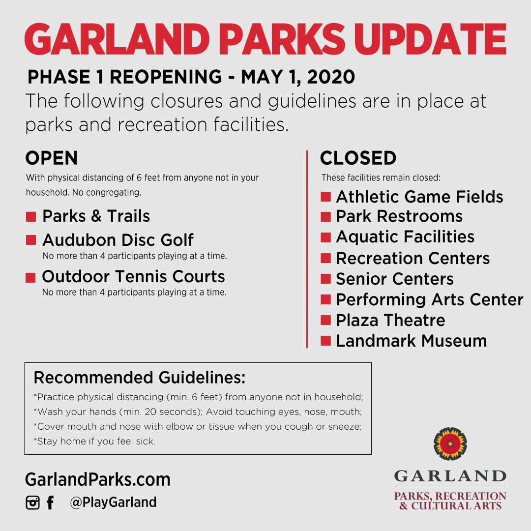 Park Phase 1 reopening restrictions - open parks, trails, disc golf, tennis courts - closed all othe